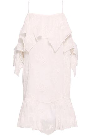 IRO Cold-shoulder broderie anglaise gauze dress