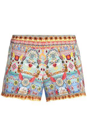 CAMILLA Closhart ruffle-trimmed printed silk shorts