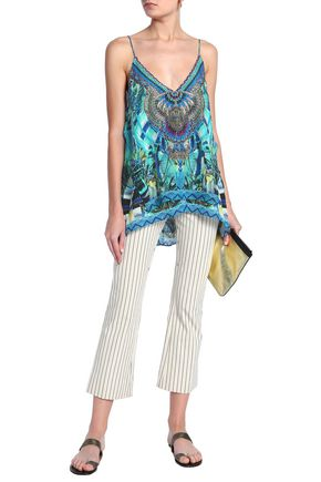 147726850199 CAMILLA Amazon crystal-embellished printed silk top