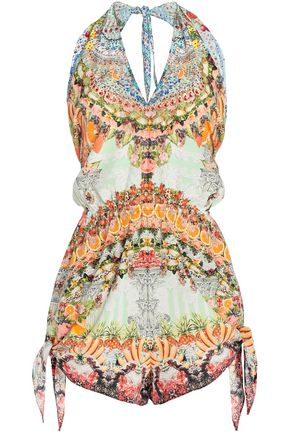 Slice Of Paradise Printed Silk Halterneck Playsuit by Camilla
