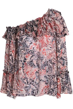 IRO One-shoulder printed devoré-chiffon blouse