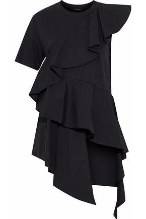 GOEN.J Ruffled poplin-paneled modal and cotton-blend top