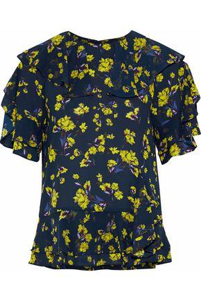 GOEN.J Ruffled floral-print crepe de chine peplum blouse