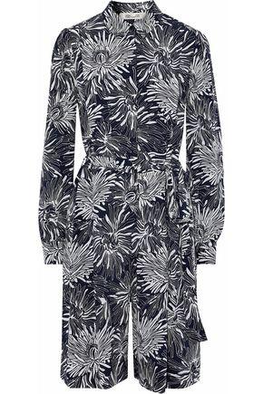 DIANE VON FURSTENBERG Floral-print silk crepe de chine playsuit