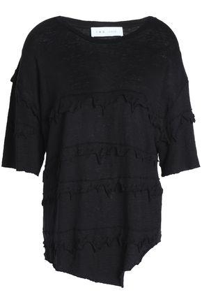 IRO Birdie distressed slub linen-jersey top