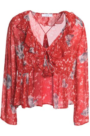 IRO Ruffled printed georgette blouse