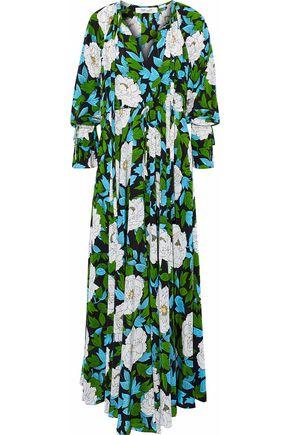 DIANE VON FURSTENBERG Pleated floral-print silk maxi dress