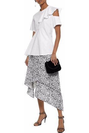 GOEN.J Ruffled cutout modal and cotton-blend top