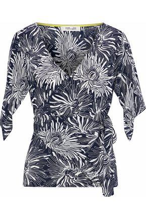 DIANE VON FURSTENBERG Floral-print silk wrap top