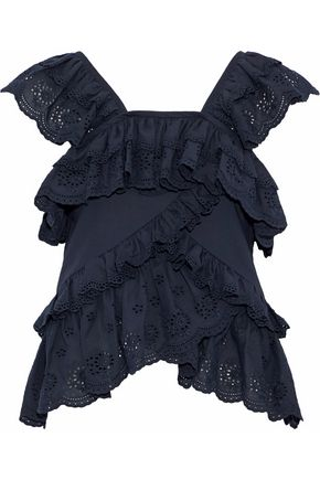 GOEN.J Ruffled broderie anglaise cotton-voile top