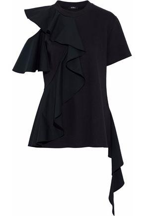 GOEN.J Ruffled poplin-paneled cutout modal and cotton-blend top