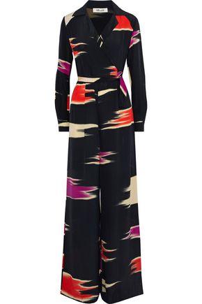 DIANE VON FURSTENBERG Wrap-effect printed silk jumpsuit