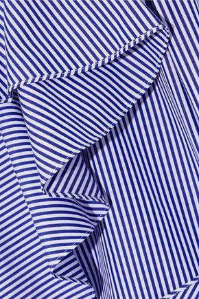 GOEN.J One-shoulder striped cotton-poplin top