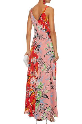 DIANE VON FURSTENBERG Paneled floral-print silk gown