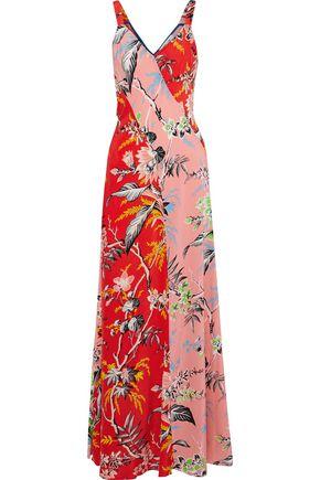 Paneled Floral Print Silk Gown by Diane Von Furstenberg