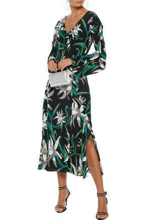 DIANE VON FURSTENBERG Wrap-effect floral-print stretch-silk midi dress
