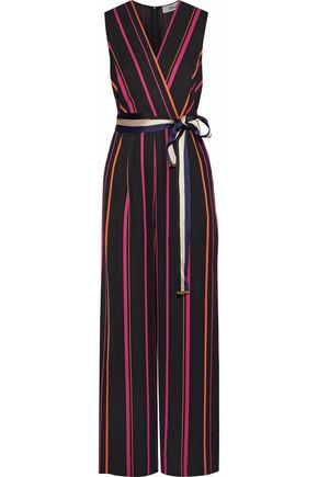 DIANE VON FURSTENBERG Wrap-effect striped twill jumpsuit