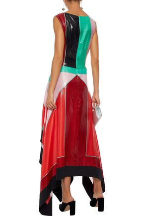 DIANE VON FURSTENBERG Asymmetric color-block coated silk-blend midi dress