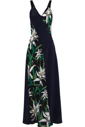 DIANE VON FURSTENBERG Patchwork-effect printed silk maxi dress
