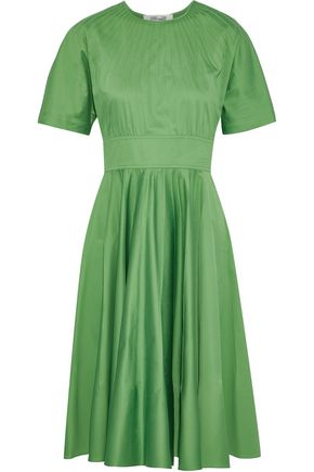 DIANE VON FURSTENBERG Pintucked stretch-cotton poplin dress