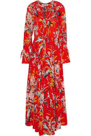 DIANE VON FURSTENBERG Pleated floral-print silk maxi dress