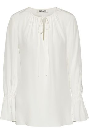 DIANE VON FURSTENBERG Bow-detailed silk crepe de chine blouse