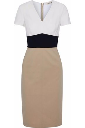 DIANE VON FURSTENBERG Color-block cotton-blend dress