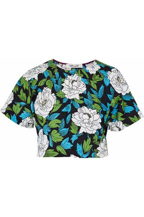 DIANE VON FURSTENBERG Cropped floral-print stretch-cotton top