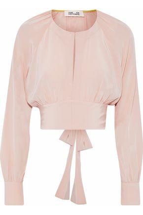 DIANE VON FURSTENBERG Cropped silk-charmeuse blouse