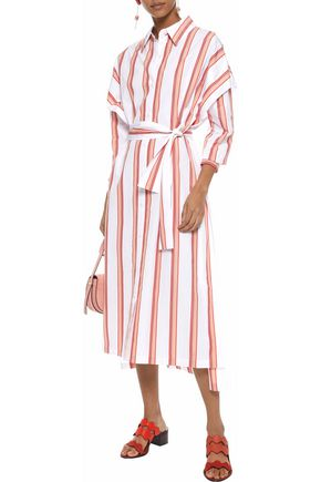 DIANE VON FURSTENBERG Belted striped cotton-poplin midi shirt dress