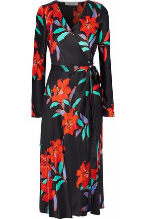 DIANE VON FURSTENBERG Floral-print silk-charmeuse wrap dress