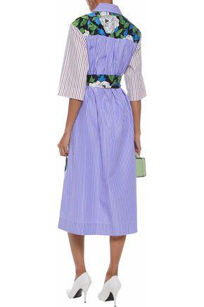 DIANE VON FURSTENBERG Striped cotton-poplin and floral-print twill midi shirt dress