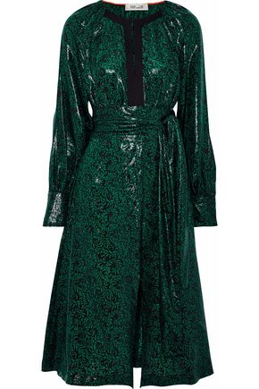 DIANE VON FURSTENBERG Belted printed coated silk-blend dress