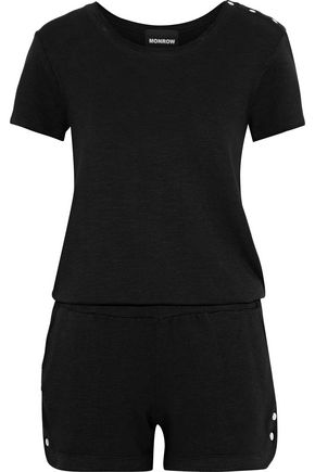 MONROW Snap-detailed terry playsuit