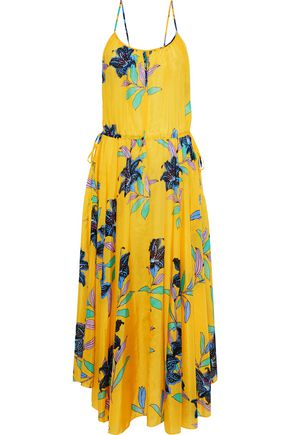 DIANE VON FURSTENBERG Floral-print cotton and silk-blend organza midi dress