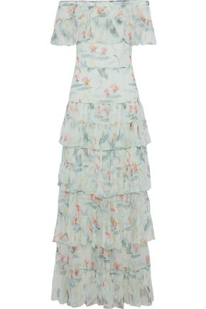 VILSHENKO Off-the-shoulder tiered floral-print silk-georgette gown