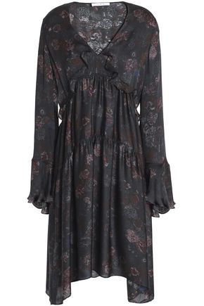 IRO Ciclone gathered floral-print silk crepe de chine dress