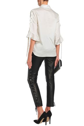 IRO Fluted lace-up cotton-poplin shirt