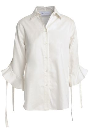 IRO Fluted lace-up cotton-poplin shirt