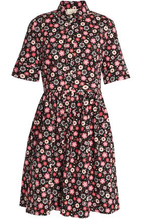 KATE SPADE New York Gathered floral-print stretch-cotton poplin mini dress