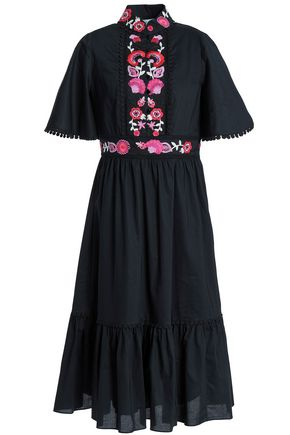 KATE SPADE New York Embroidered cotton-poplin midi dress