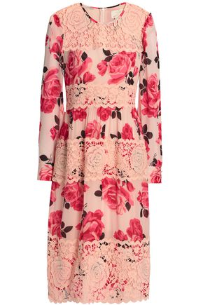 KATE SPADE New York Paneled guipure lace and floral-print georgette dress
