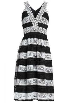 KATE SPADE New York Gathered two-tone guipure lace dress