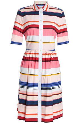 KATE SPADE New York Berber striped cotton-blend mini shirt dress