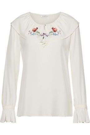 VILSHENKO Ruffle-trimmed embroidered silk crepe de chine blouse