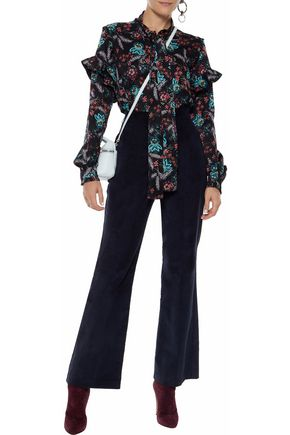 W118 by WALTER BAKER Pussy-bow floral-print crepe de chine blouse