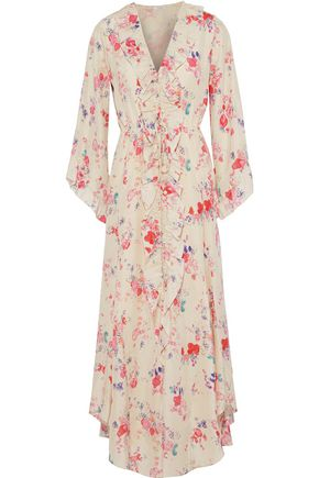 VILSHENKO Madison floral-print silk crepe de chine midi dress