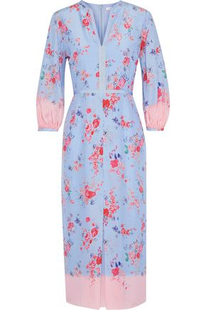 VILSHENKO Evie floral-print silk crepe de chine midi dress