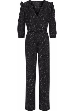 W118 by WALTER BAKER Mona wrap-effect polka-dot crepe de chine jumpsuit