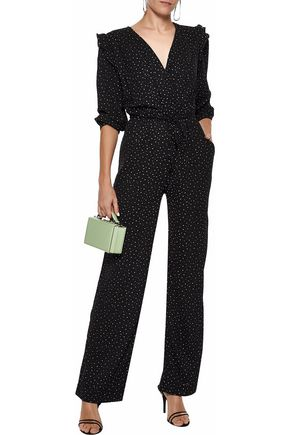 W118 by WALTER BAKER Mona wrap-effect polka-dot crepe de chine jumpsuit
